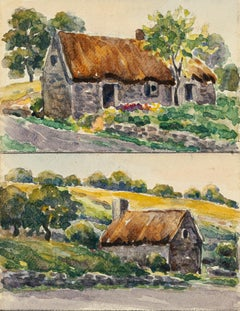 Rural Cottage - Watercolor by French Master - Mid 20th Century