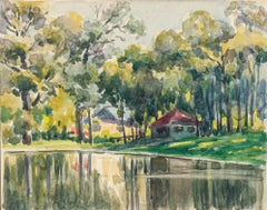 Trees by Lake - Watercolor by French Master - Mid 20th Century