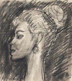 Portrait - Pencil and Charcoal Drawing by H. Yencesse - 1950s