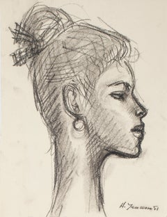 Portrait of Woman - Pencil and Charcoal Drawing by H. Yencesse - 1951