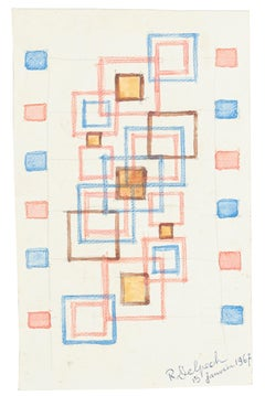 Geometric Composition - Watercolor on Paper by J.-R. Delpech - 1969