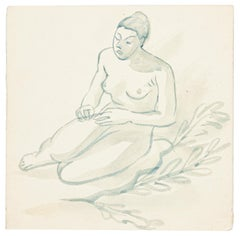 Nude - Watercolor on Paper by J.-R. Delpech - 1960s