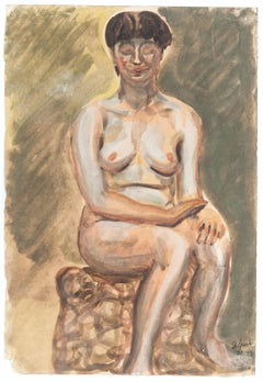 Nude - Mixed Media on Paper by J.-R. Delpech - 1942