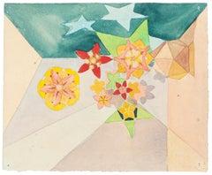 Flowers - Watercolor on Paper by J.-R. Delpech - 1960s