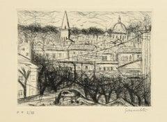City View - Original Etching by N. Gattamelata - Late 20th Century