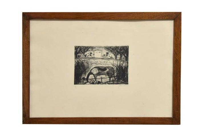 Landscape - Original Etching by N. Gattamelata - Late 20th Century - Print by Nazareno Gattamenata