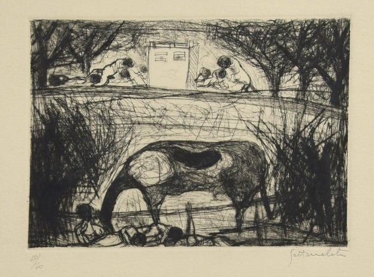 Nazareno Gattamenata Figurative Print - Landscape - Original Etching by N. Gattamelata - Late 20th Century