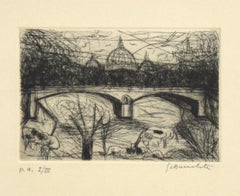 St Peter's View - Original Etching by N. Gattamelata - Late 20th Century