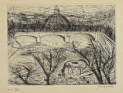 View of Rome - Original Etching by N. Gattamelata - Late 20th Century