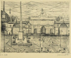 View of Piazza del Popolo, Rome - Etching by N. Gattamelata - Late 20th Century