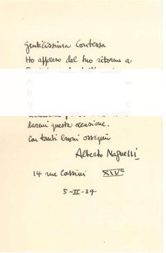 Letter of Greetings - Original Letter by A. Magnelli - 1934