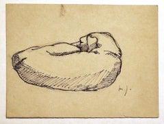 Dog - Original China Ink Drawing - Mid 20th Century