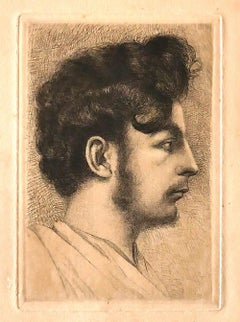 Portrait - Original Etching by A.E. Guillez - 1908