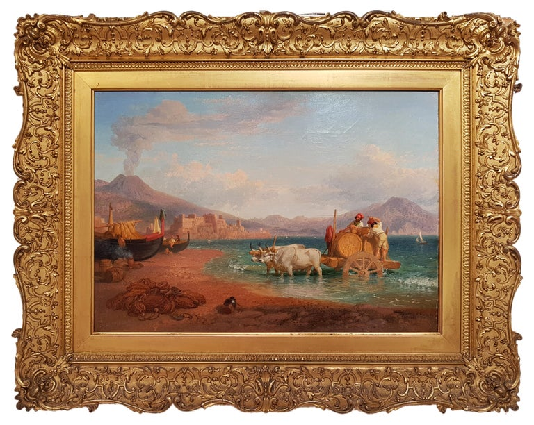 The Wagon of the Coopers in the Gulf of Naples with the Vesuvius on Background - Painting by Consalvo Carelli