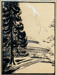 Landscape - Original Mixed Media - mid 1900
