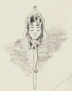 Woman - Original China Ink Drawing - 1876