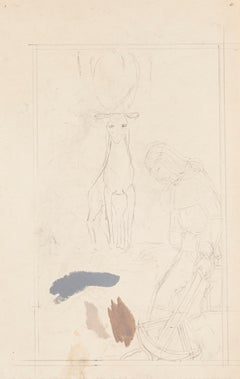 The Saint and the Animal - Original Pencil and Tempera by Paul Bony - 1930s