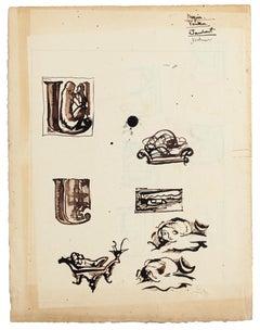 Studies - Ink and Watercolor Drawings on Cardboard - 20th Century