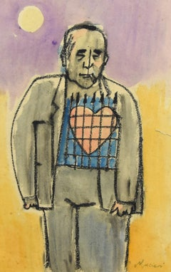 Self-Portrait with Big Heart - Charcoal and Watercolor by M. Maccari -1960s