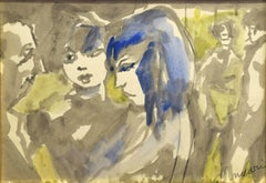 Girls - Charcoal and Watercolor by M. Maccari -1960s
