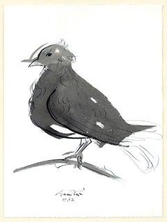 The Dove - Original Ink and Gouache by Giacomo Manzù - 1972