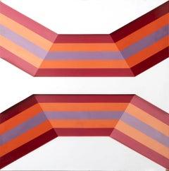 Abstract Composition - Original Enamel on Canvas by Renato Livi - 1971