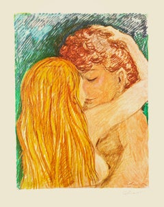 Lovers - Original Lithograph by Carlo Levi - 1970s