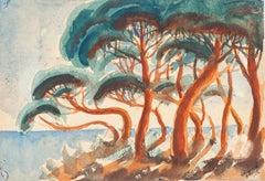 La Corniche à Menton - Watercolor on Paper by J.-R. Delpech - 1960s