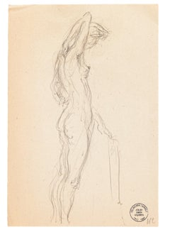 Nude - Original Pencil Drawing by S. Goldberg - Mid 20th Century