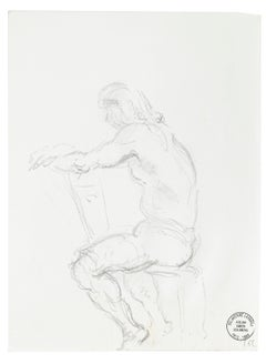 Pensive Man - Original Pencil Drawing by S. Goldberg - Mid 20th Century