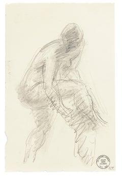 Man - Original Pencil Drawing by S. Goldberg - Mid 20th Century