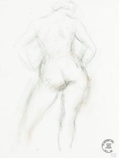 Nude - Original Pencil Drawing by S. Goldberg - Mid 20th Century