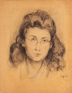 Female Portrait - Pencil and Charcoal on Paper by J. Dreyfus-Stern - 1940s