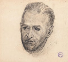 Male Portrait - Pencil and Charcoal Drawing on Paper by Paul Garin - 1950s
