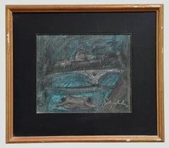 The Bridge - Original Charcoal Drawing by N. Gattamelata - 1970s