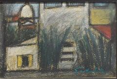 Houses - Original Charcoal Drawing by N. Gattamelata - 1970s