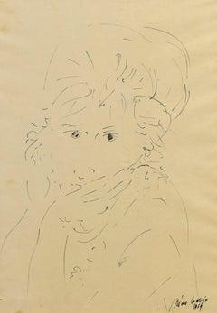 Girl - Original China Ink Drawing by Nino Cordio - 1964