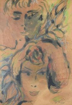 Women - Original Watercolor by Guelfo Bianchini - 1961