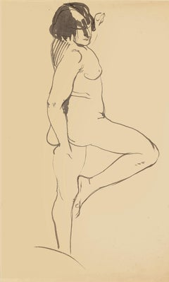 Nude Woman - Original China Ink Drawing - Mid 20th Century