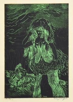Green Woman - Original Woodcut by Guelfo - 1959