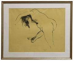 Nude - Original China Ink Drawing - 1965