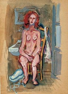 Nude Woman - Original Tempera and Watercolor by Primo Zeglio - 1930s