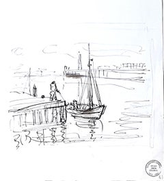 Seascape - Original Ink Drawing by S. Goldberg - Mid 20th Century