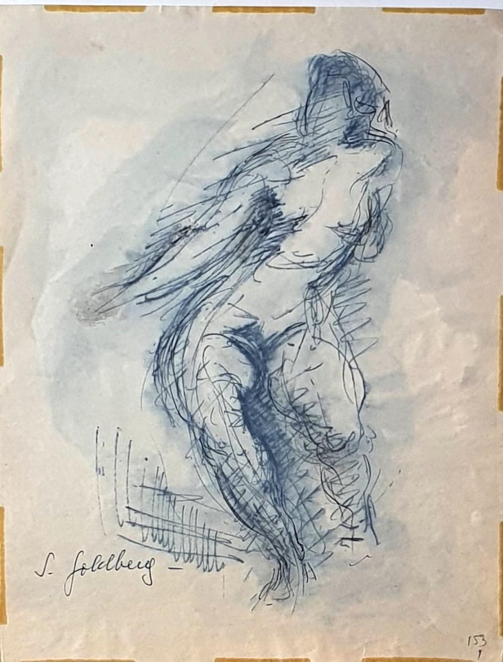 Nude - Original Pen Drawing and Watercolor by S. Goldberg - Mid 20th Century