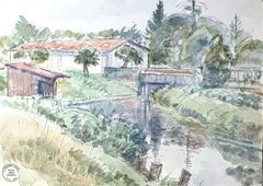 Landscape - Original Watercolor by S. Goldberg - Mid 20th Century