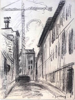 Cityscape - Original Charcoal Drawingr by S. Goldberg - Mid 20th Century