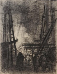 Dark City - Original Charcoal Drawing by S. Goldberg - Mid 20th Century