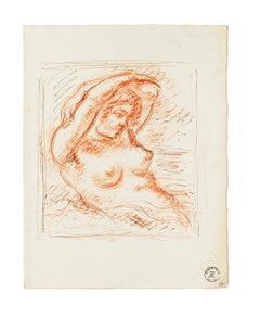 Nude - Original Sanguine by S. Goldberg - Mid 20th Century