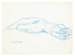 Nude - Original Pen Drawing by S. Goldberg - Mid 20th Century
