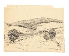 Landscape - Original Pen Drawing - Mid 20th Century
